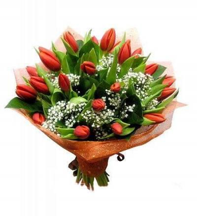 Маленький букет: тюльпаны - 11 шт; гипсофила - 1...